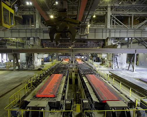 Our Facilitie - A picture of rolled steel in the Lake Erie Works facility.